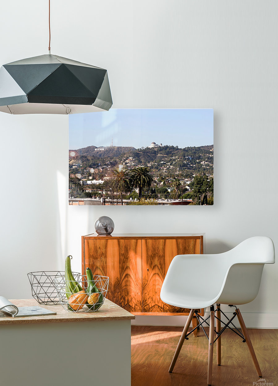 Hollywood Hills from Silver Lake  HD Metal print with Floating Frame on Back