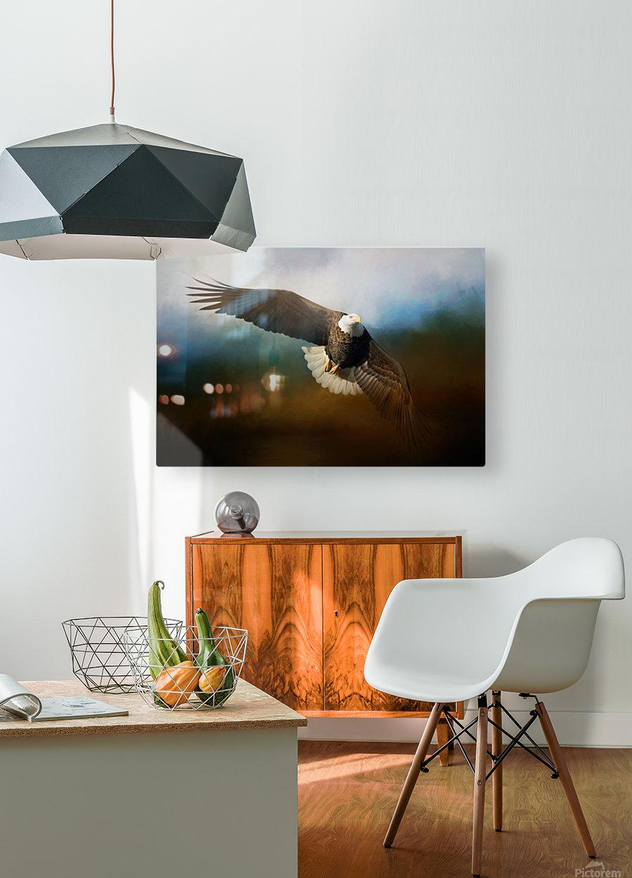 Raptor  HD Metal print with Floating Frame on Back