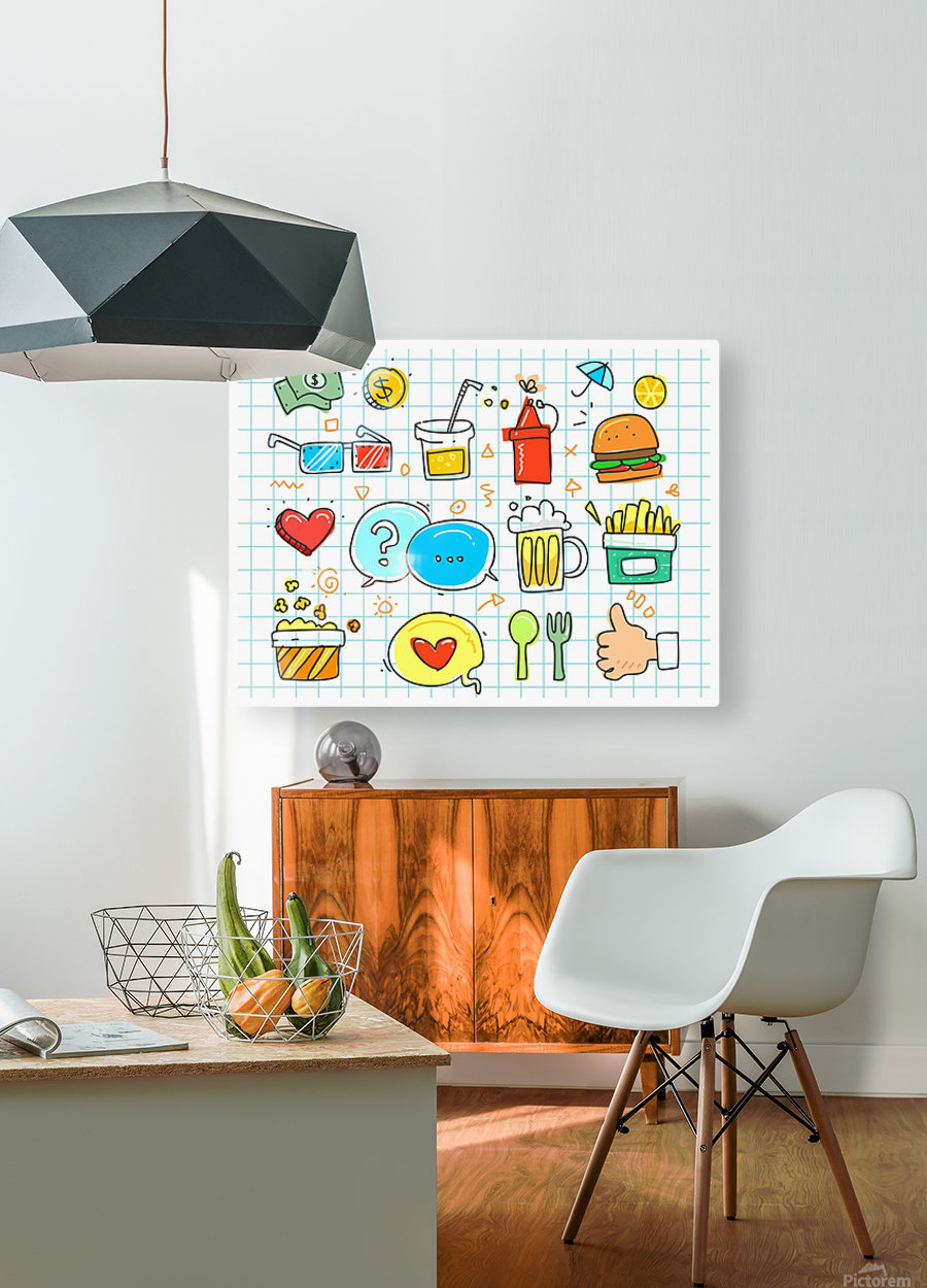 colorful doodle  HD Metal print with Floating Frame on Back
