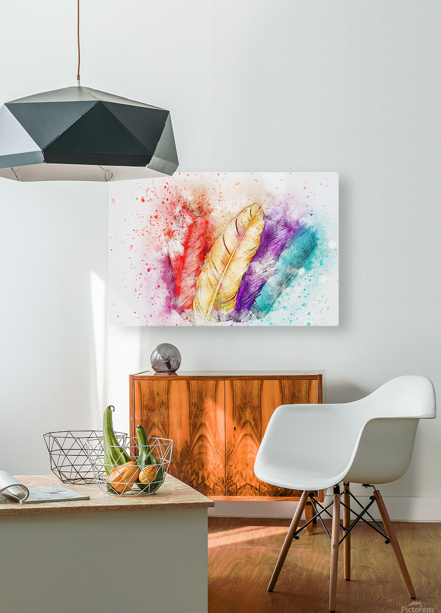 feathers  HD Metal print with Floating Frame on Back