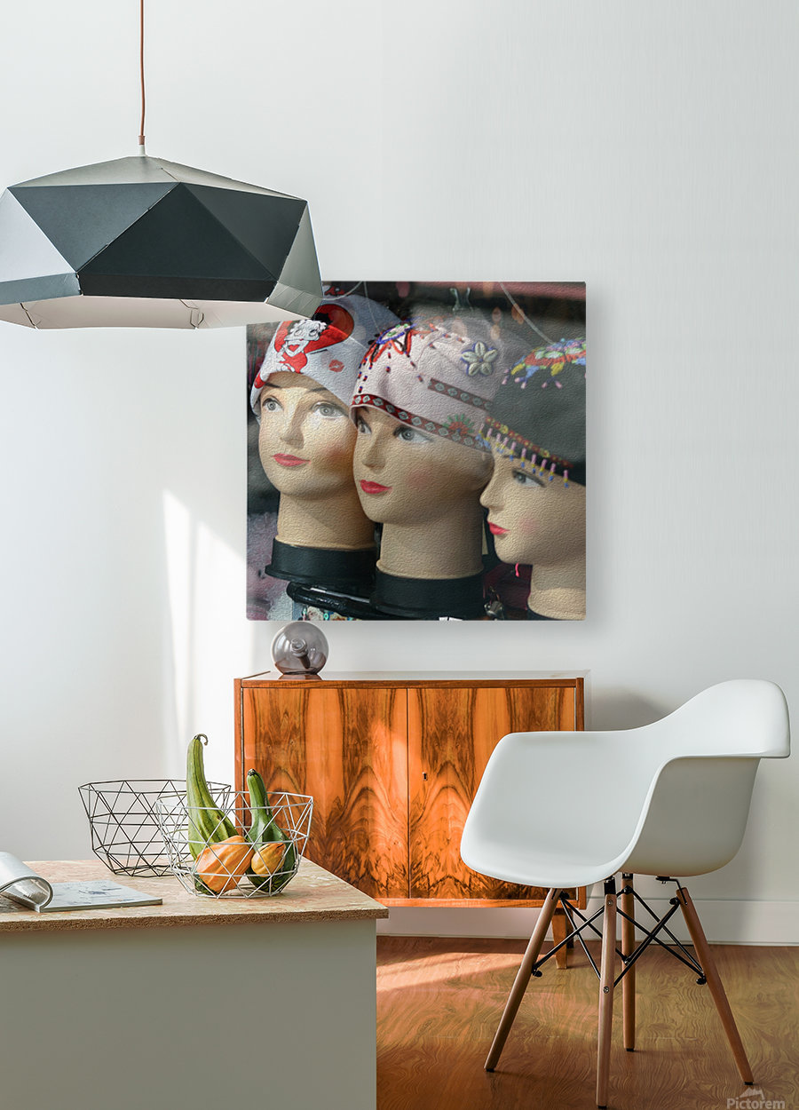 Three Mannequin Heads with Bandanas  HD Metal print with Floating Frame on Back