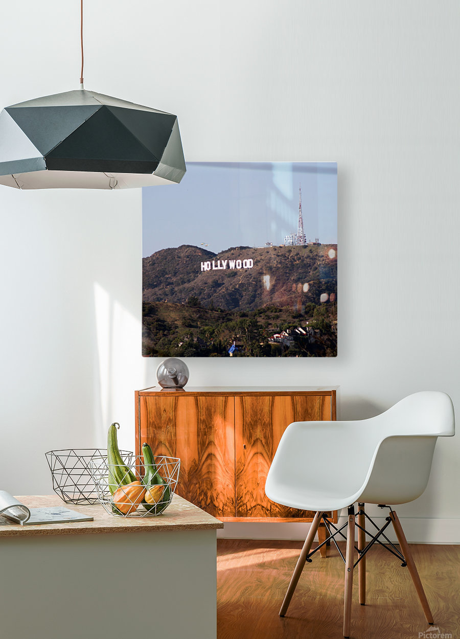 Hollywood and Helicopters  HD Metal print with Floating Frame on Back
