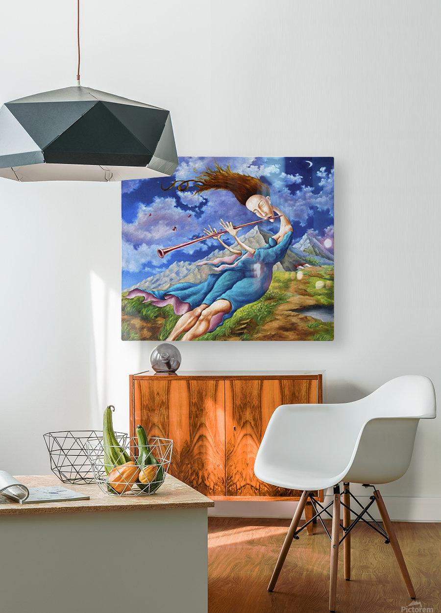 Windy Flutist  HD Metal print with Floating Frame on Back