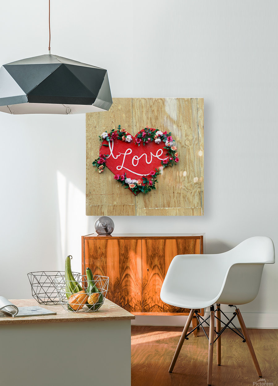 I love Heart - Square Canvas Print  HD Metal print with Floating Frame on Back