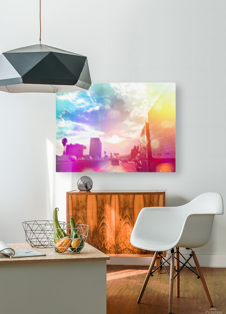 blue cloudy sky on the road with colorful bokeh light abstract  HD Metal print with Floating Frame on Back