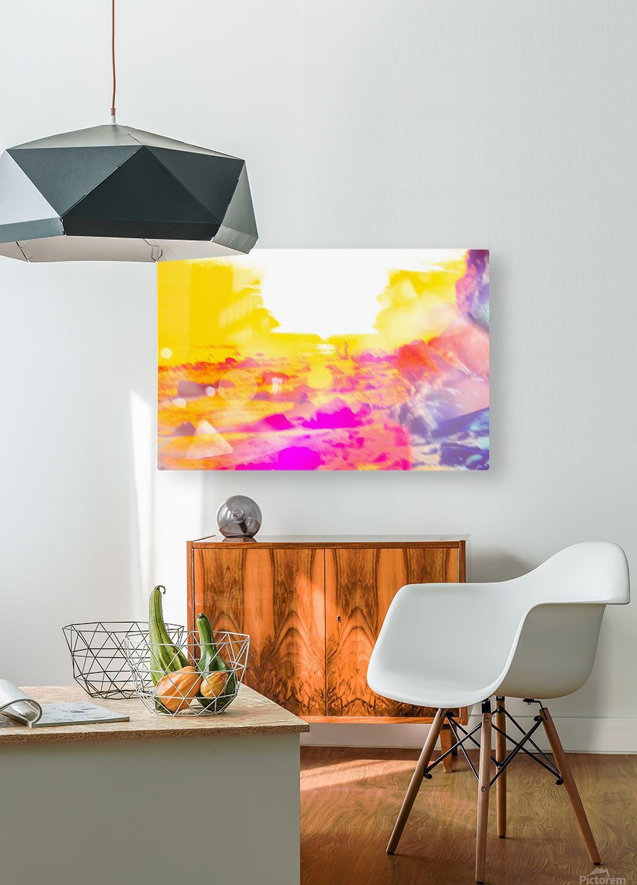 summer sunset at the beach with summer bokeh light abstract  HD Metal print with Floating Frame on Back