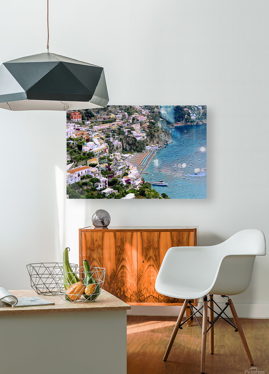 Aerial view of Positano Beach - Italy  HD Metal print with Floating Frame on Back