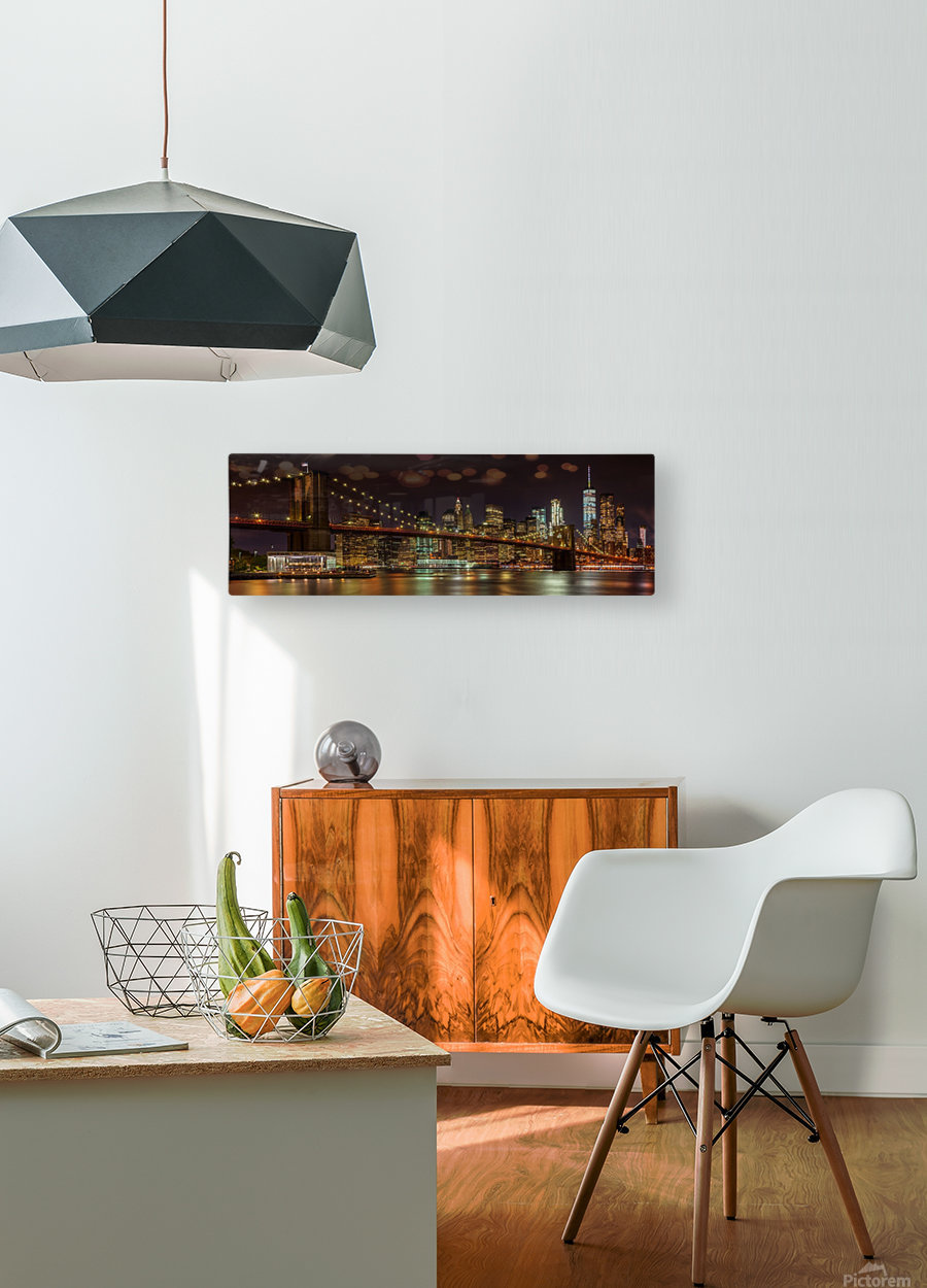 MANHATTAN SKYLINE & BROOKLYN BRIDGE Idyllic Nightscape | Panoramic   HD Metal print with Floating Frame on Back