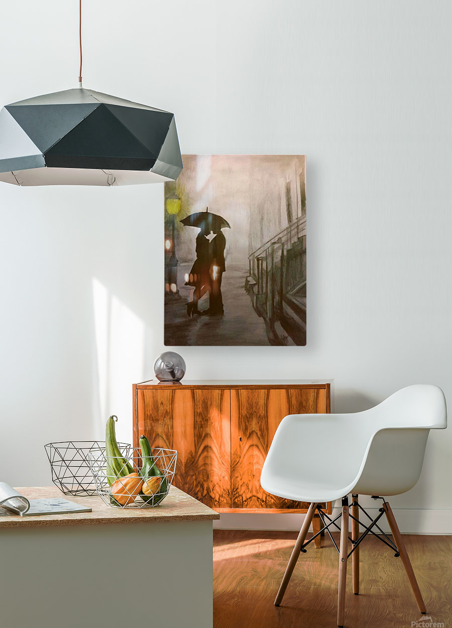 Love in the Rain  HD Metal print with Floating Frame on Back