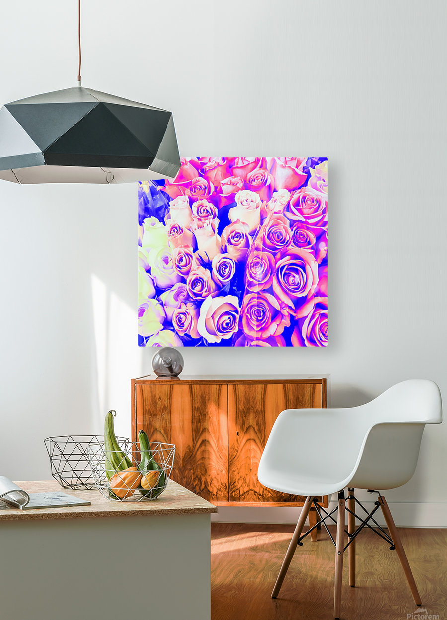 bouquet of roses texture pattern abstract in pink and purple  HD Metal print with Floating Frame on Back