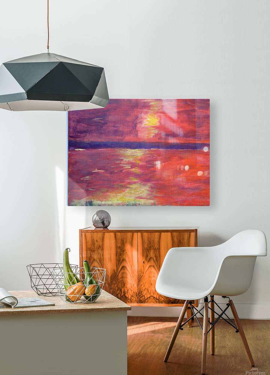 Red Abstract Sunset  HD Metal print with Floating Frame on Back