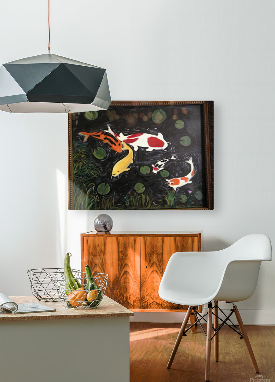 Koi Fish Painting  HD Metal print with Floating Frame on Back