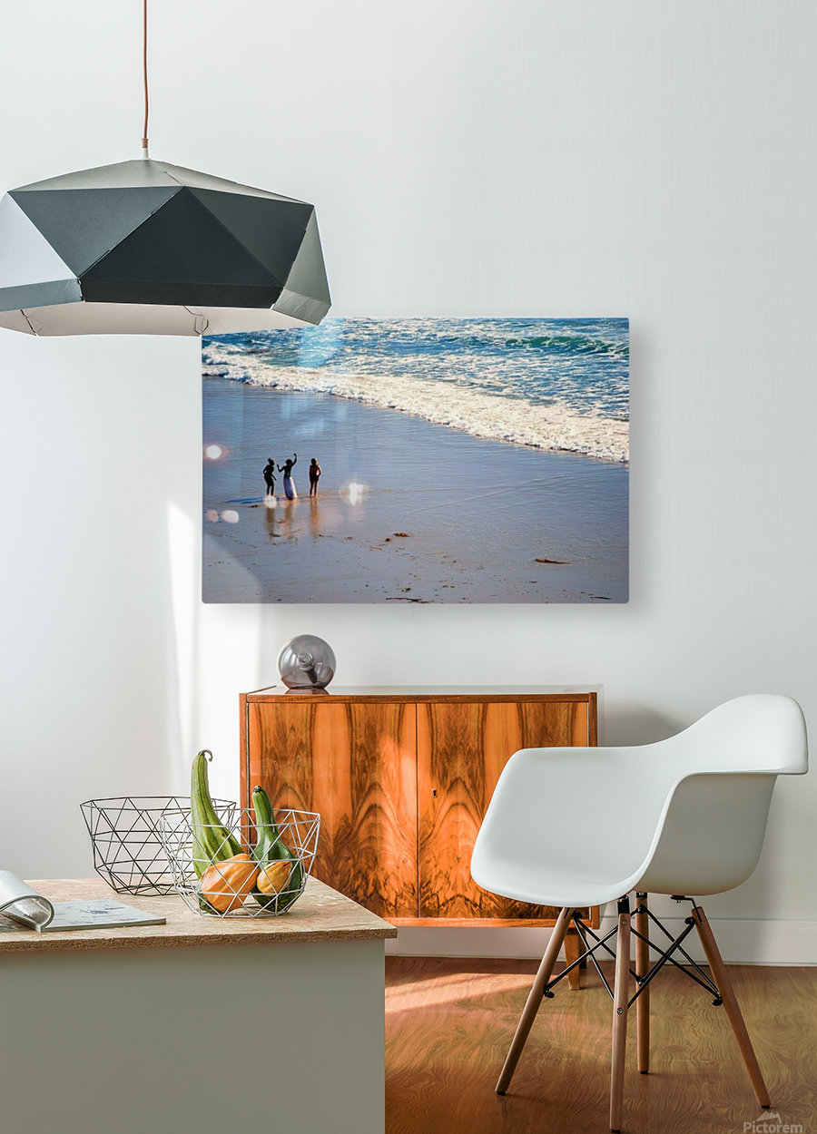 3 girls on California beach  HD Metal print with Floating Frame on Back