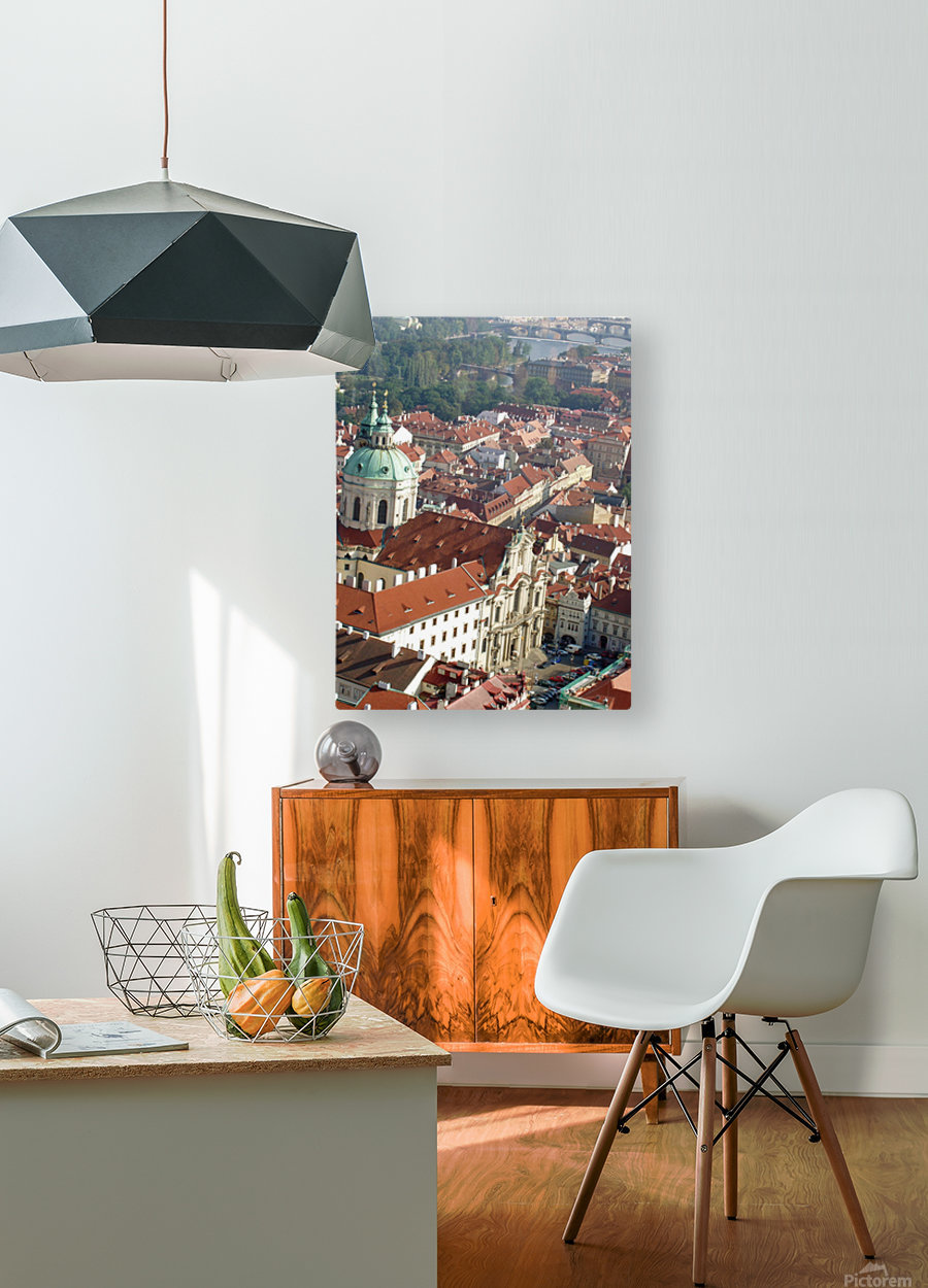 Looking Down on Prague  HD Metal print with Floating Frame on Back