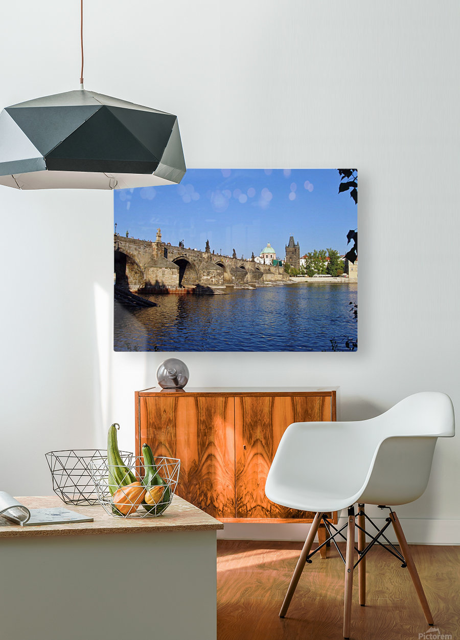 View of The Charles Bridge Prague  HD Metal print with Floating Frame on Back