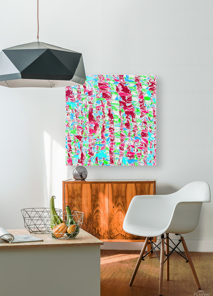 psychedelic painting texture abstract pattern background in pink blue green  HD Metal print with Floating Frame on Back