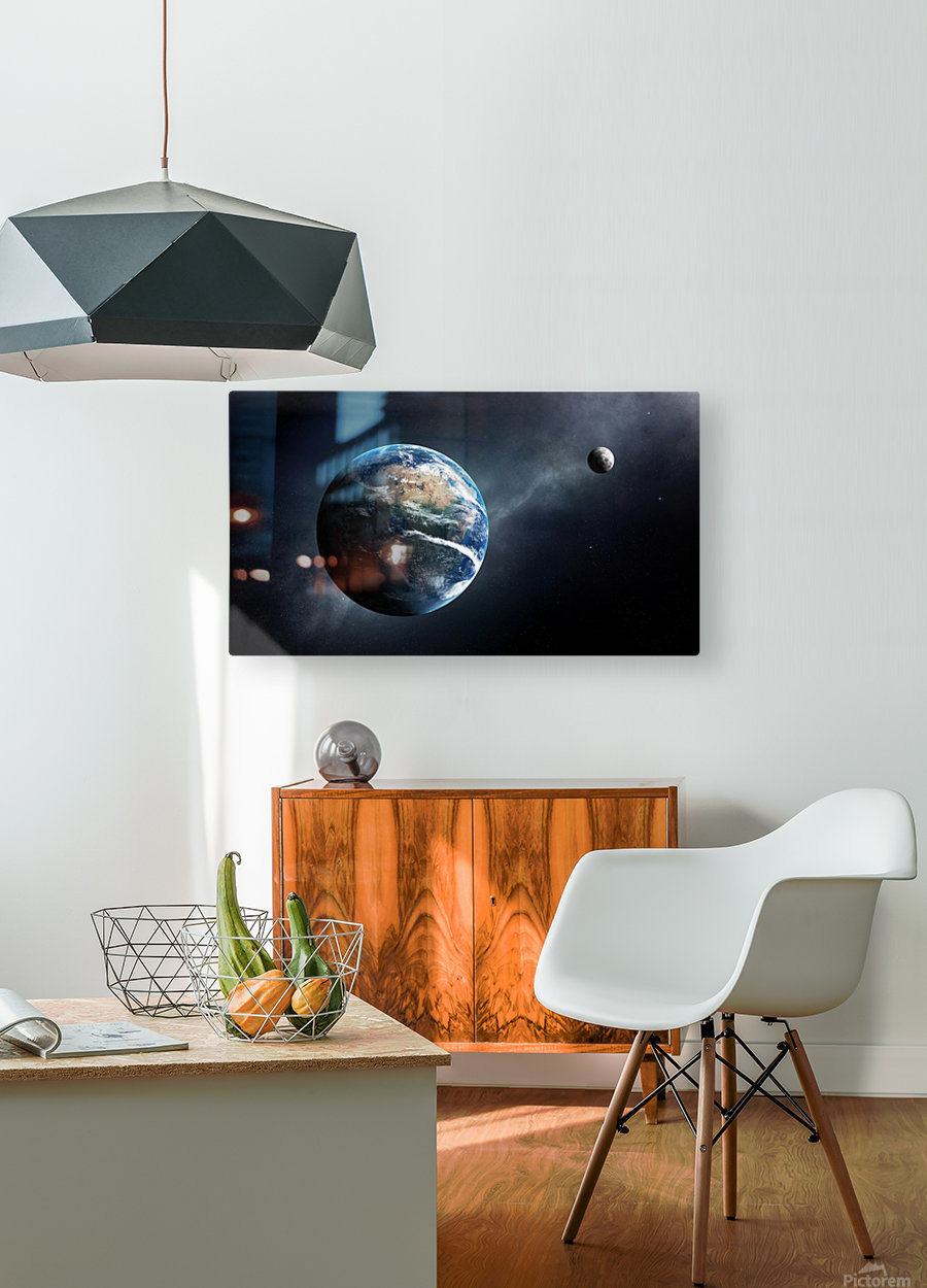 Earth and moon space view  HD Metal print with Floating Frame on Back