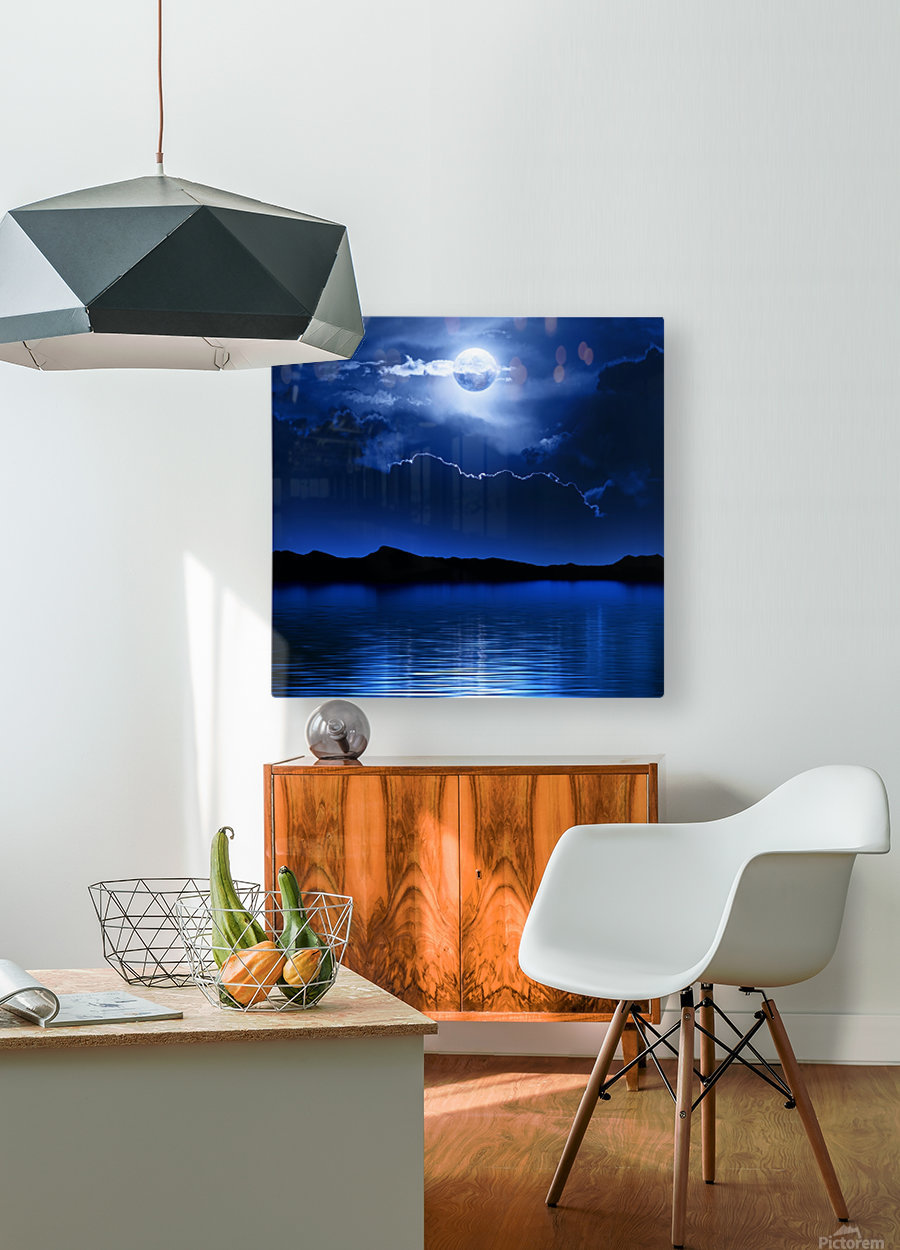 Fantasy Moon and Clouds over water  HD Metal print with Floating Frame on Back