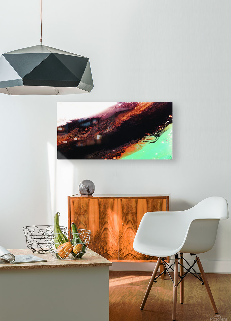 Agate Minimalist Abstract Canvas Painting Metal Artwork  HD Metal print with Floating Frame on Back