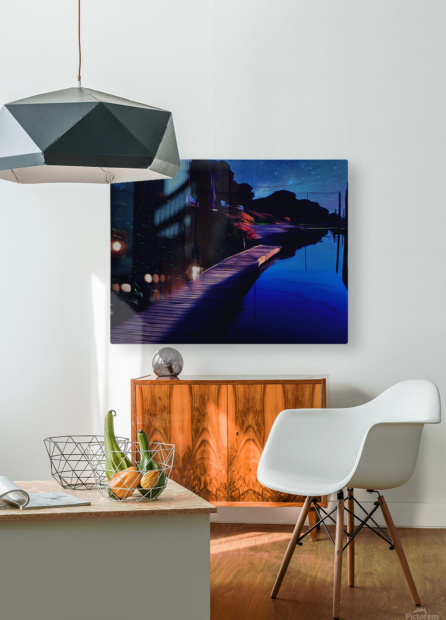 Night Dock  HD Metal print with Floating Frame on Back