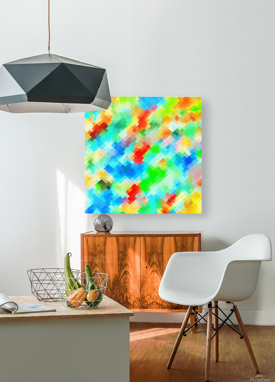 psychedelic geometric pixel abstract pattern in blue green red orange  HD Metal print with Floating Frame on Back