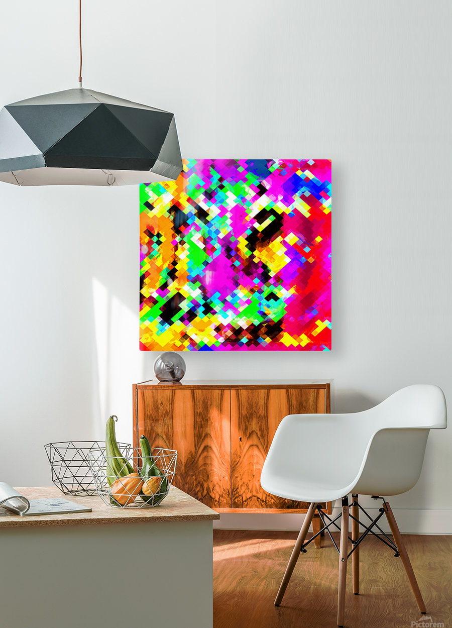 psychedelic geometric pixel abstract pattern in pink purple blue green yellow  HD Metal print with Floating Frame on Back
