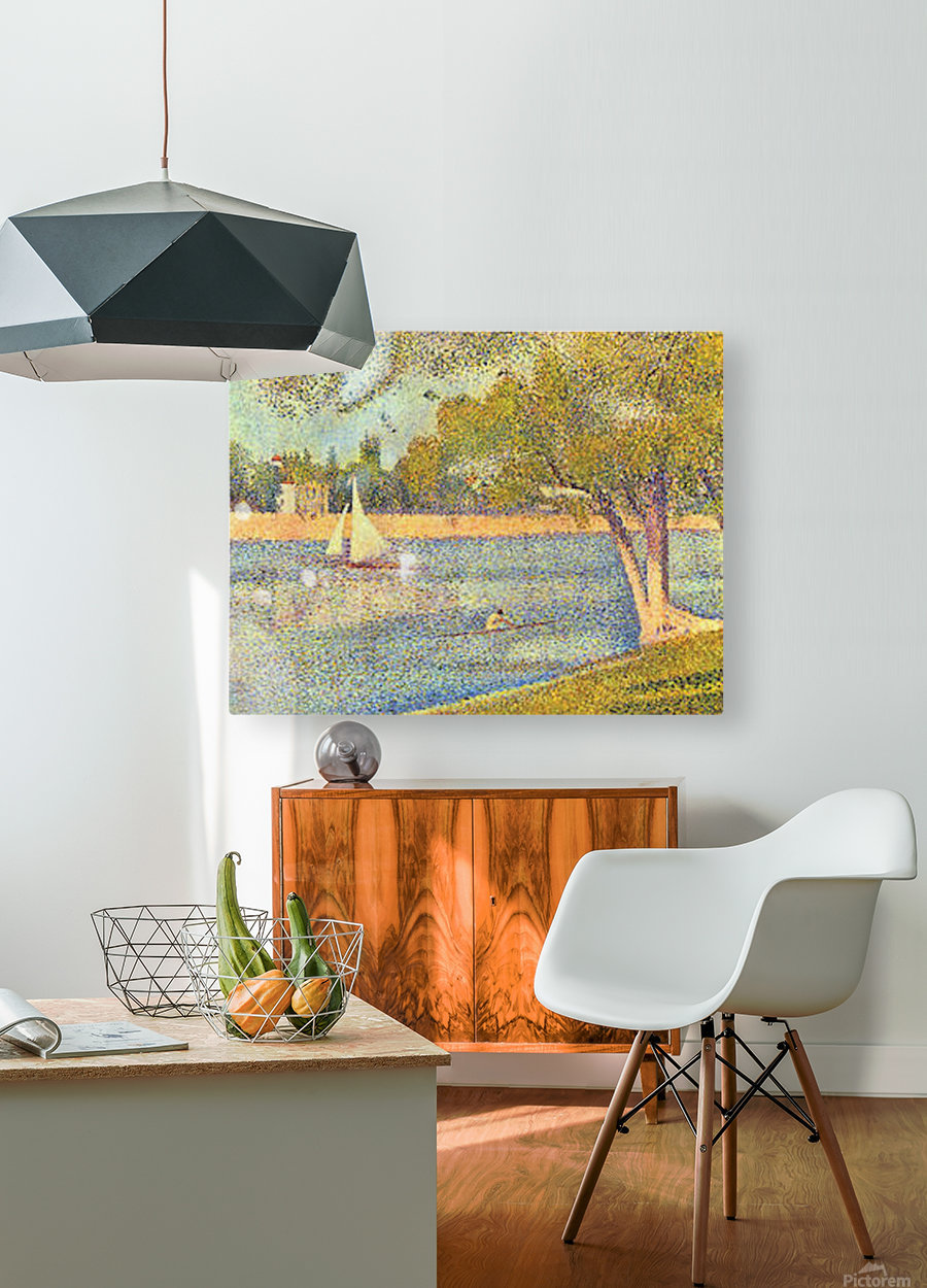 The Seine at the Grand Jatte, Spring by Seurat  HD Metal print with Floating Frame on Back