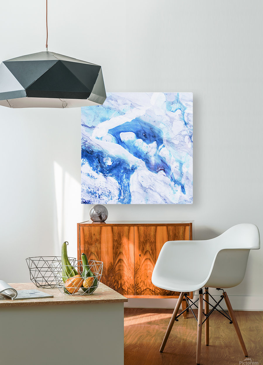blue abstract marble  HD Metal print with Floating Frame on Back