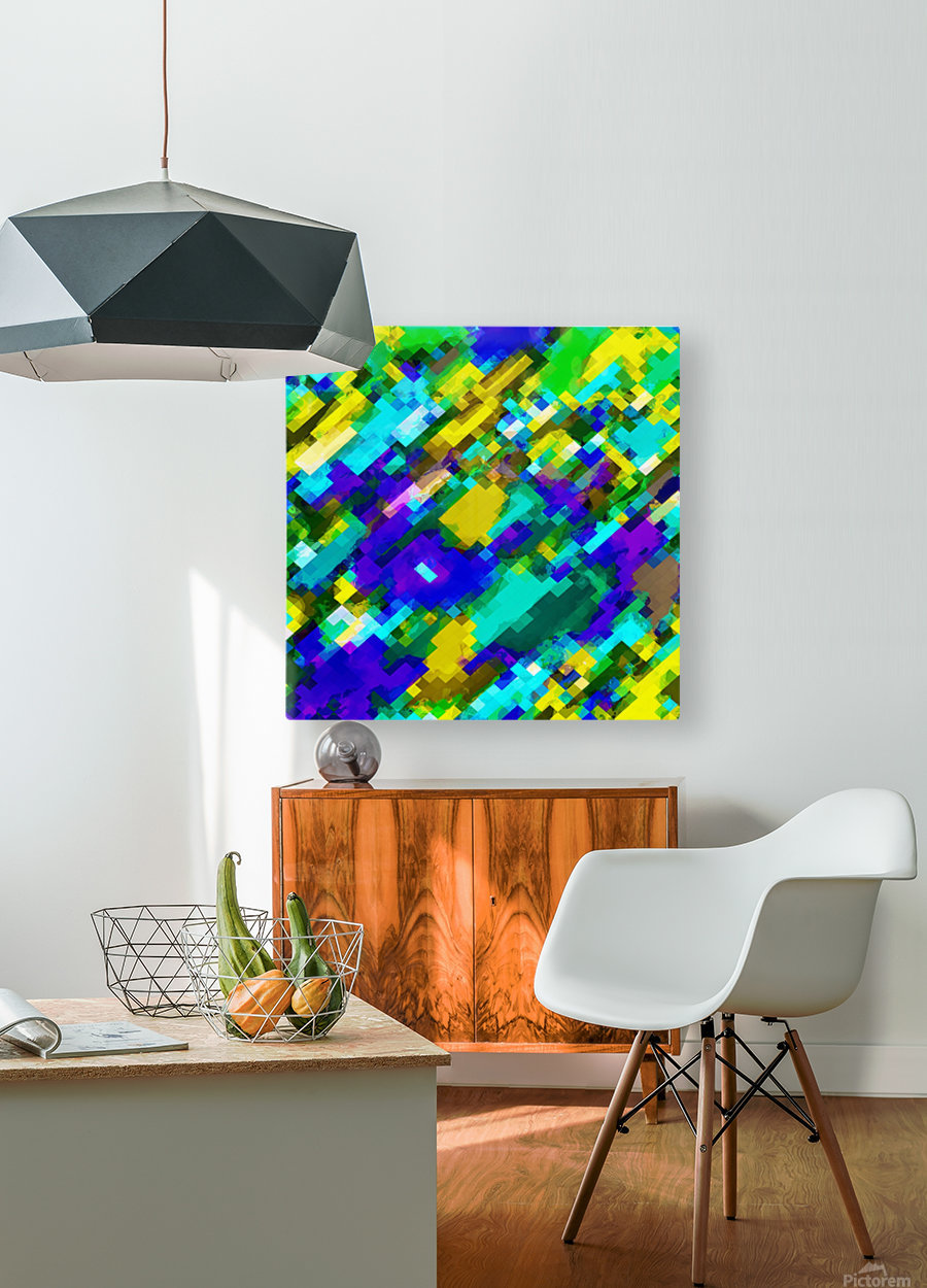 psychedelic geometric square pixel pattern abstract in green yellow blue purple  HD Metal print with Floating Frame on Back