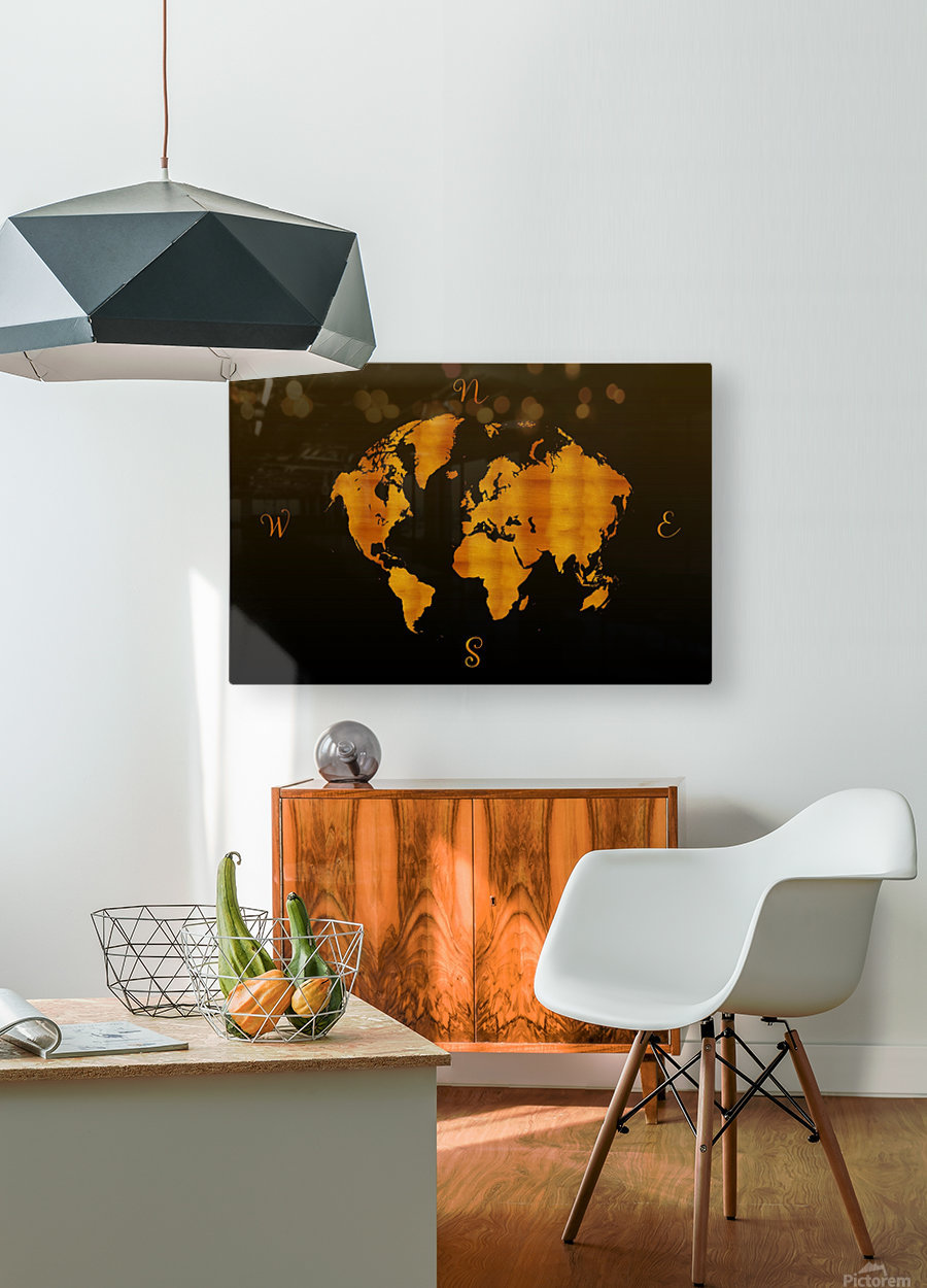 MODERN GRAPHIC ART World Map |  | Redgold  HD Metal print with Floating Frame on Back