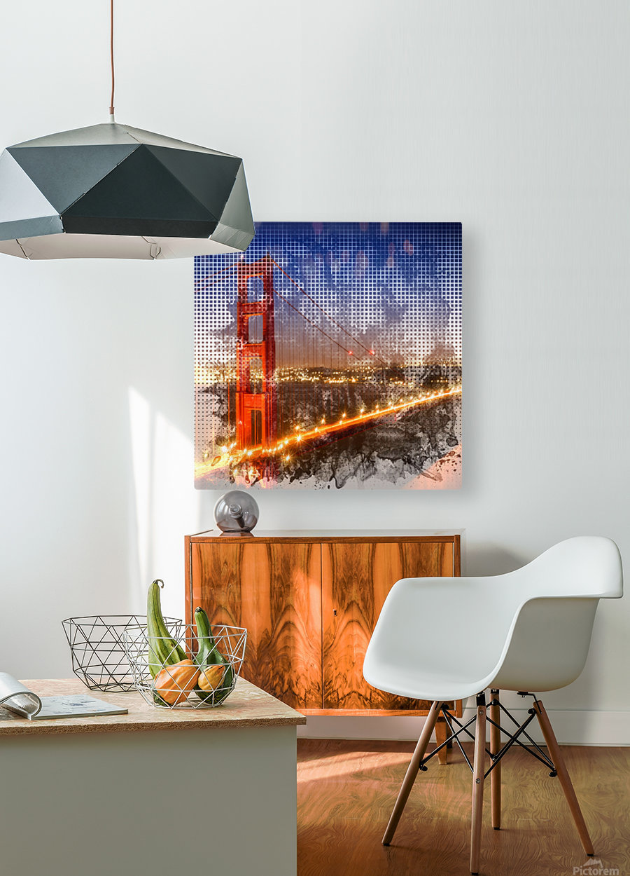 Graphic Art Golden Gate Bridge | watercolour style  HD Metal print with Floating Frame on Back
