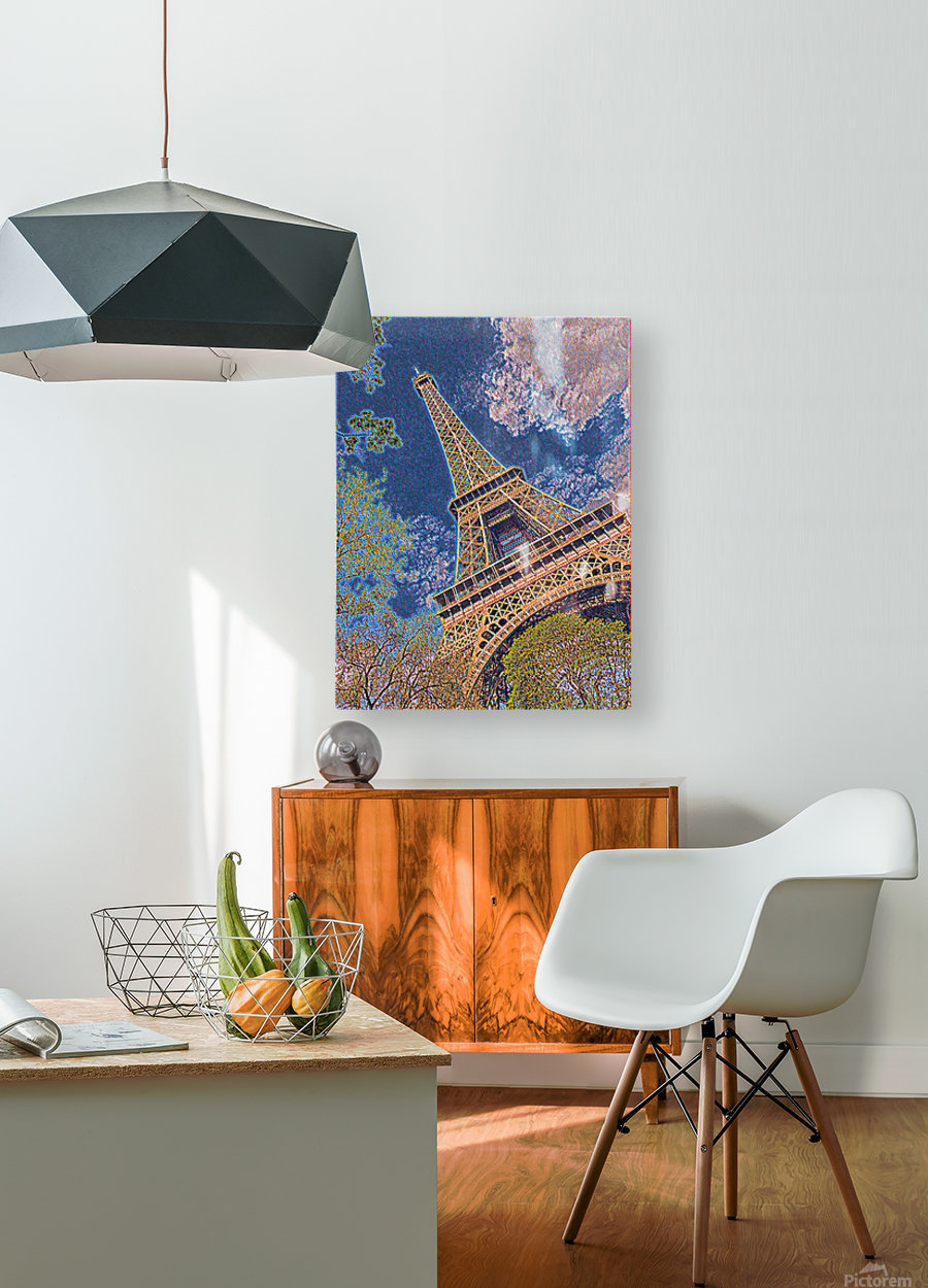 Eiffel Tower- Abstract  HD Metal print with Floating Frame on Back