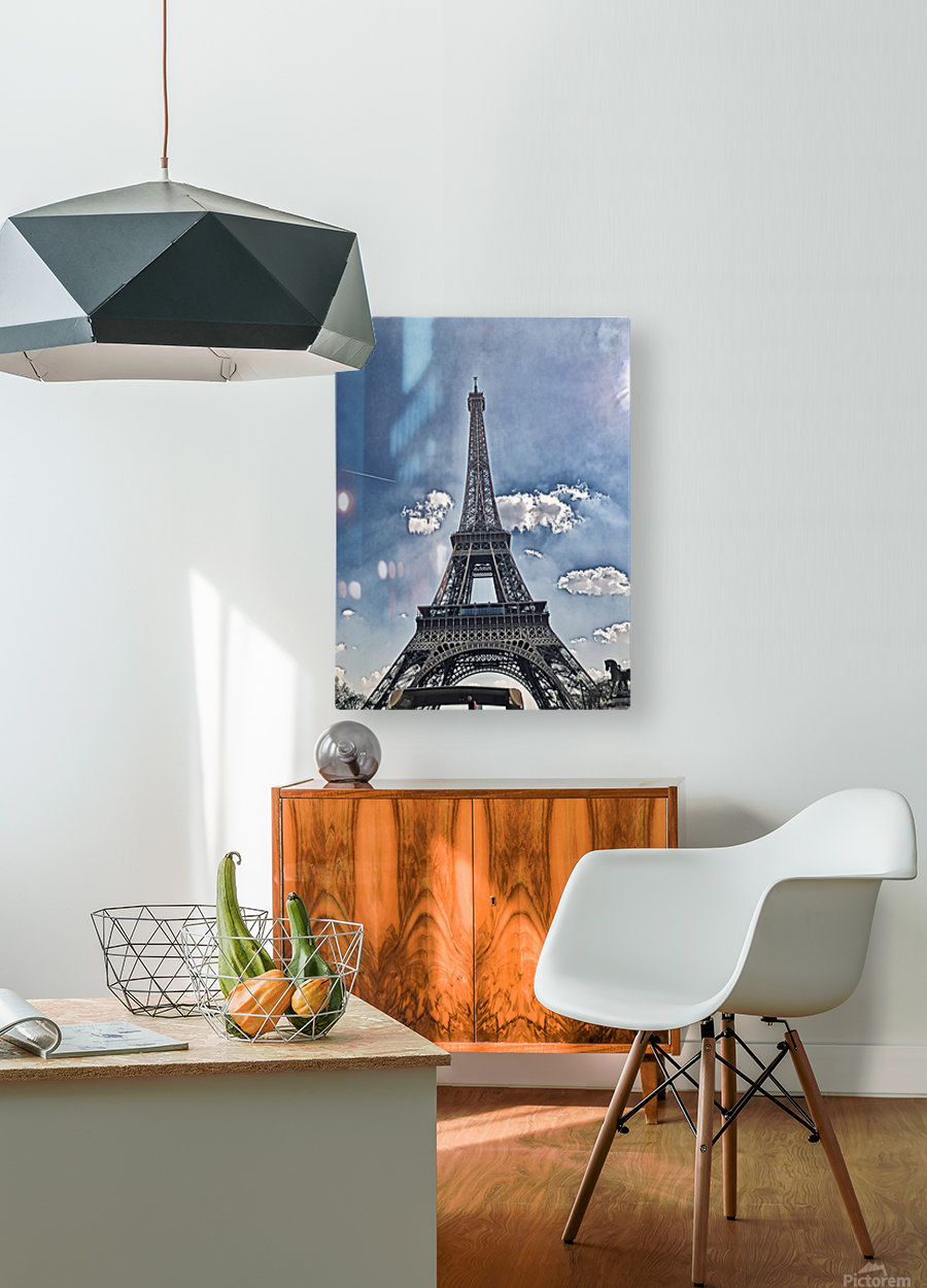 Sky & Eiffel  HD Metal print with Floating Frame on Back