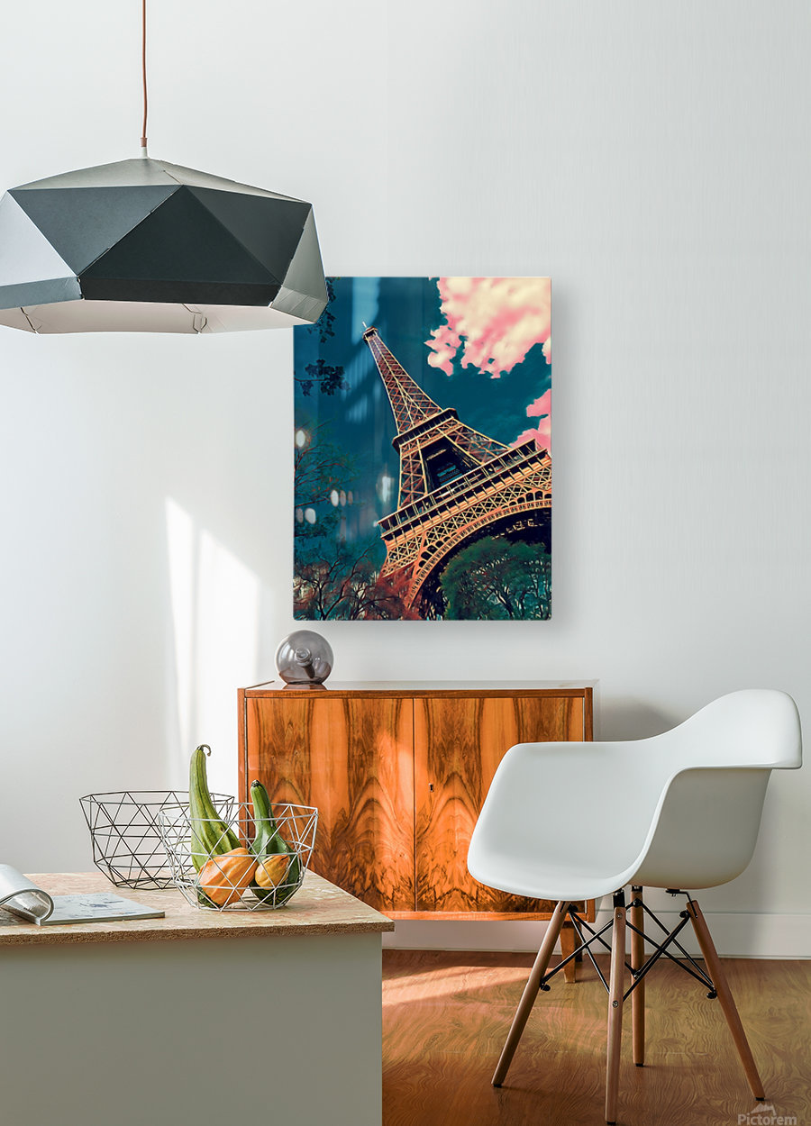 Eiffel Tower- Deep Blue  HD Metal print with Floating Frame on Back