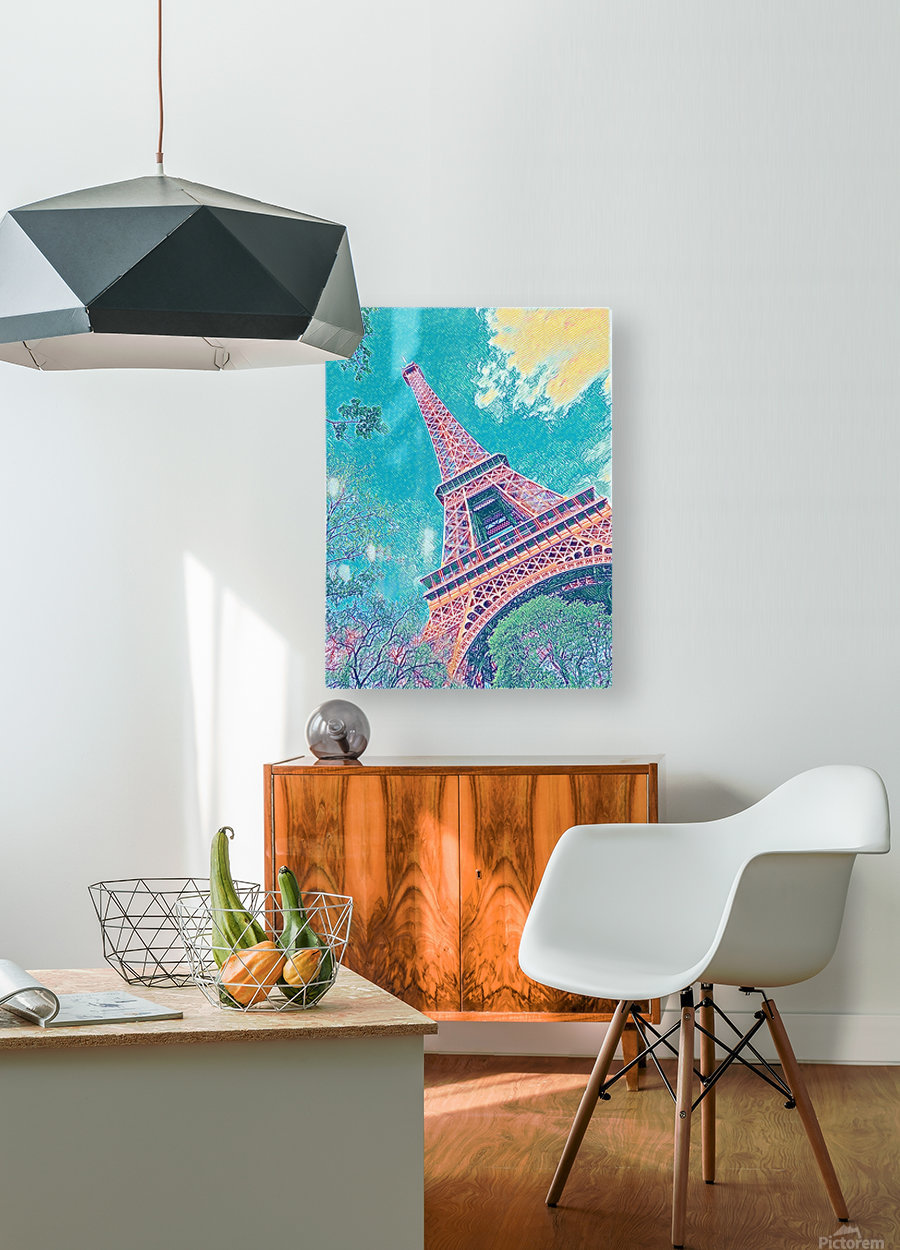 Eiffel Tower- Teal  HD Metal print with Floating Frame on Back
