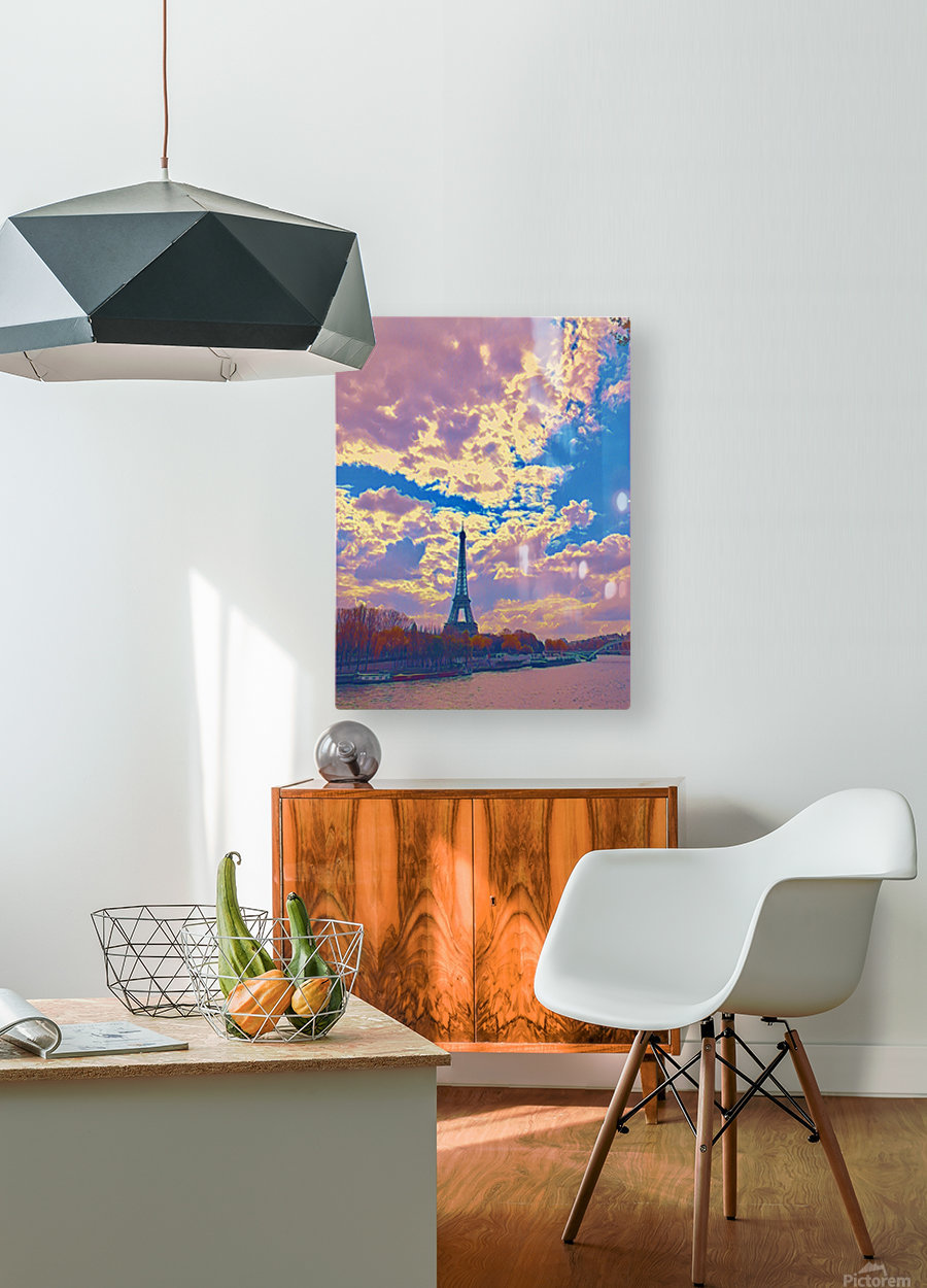 River & Eiffel   HD Metal print with Floating Frame on Back