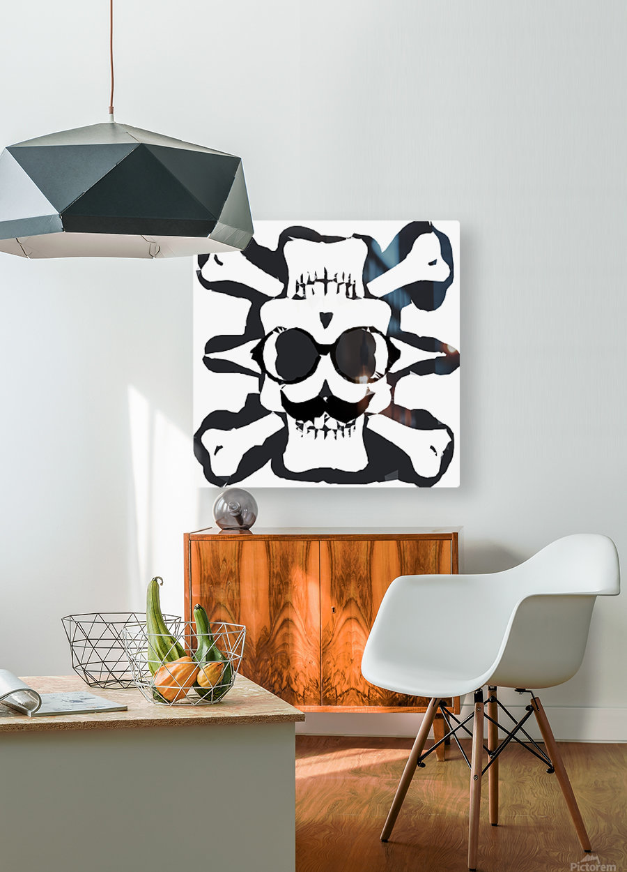 old funny skull and bone art portrait in black and white  HD Metal print with Floating Frame on Back