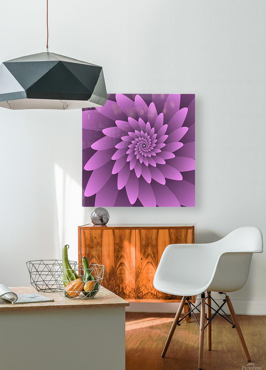 3D Floral Modern Artwork  HD Metal print with Floating Frame on Back