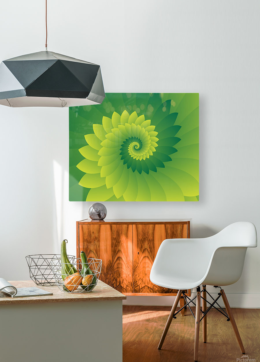Shiny Greeny Art  HD Metal print with Floating Frame on Back