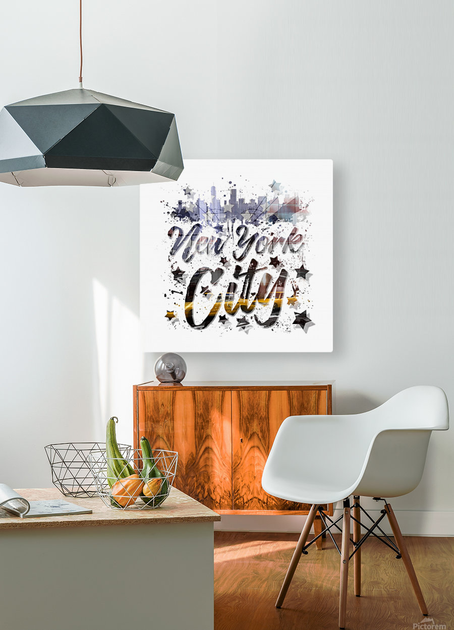 City-Art NYC Composing | Typography  HD Metal print with Floating Frame on Back