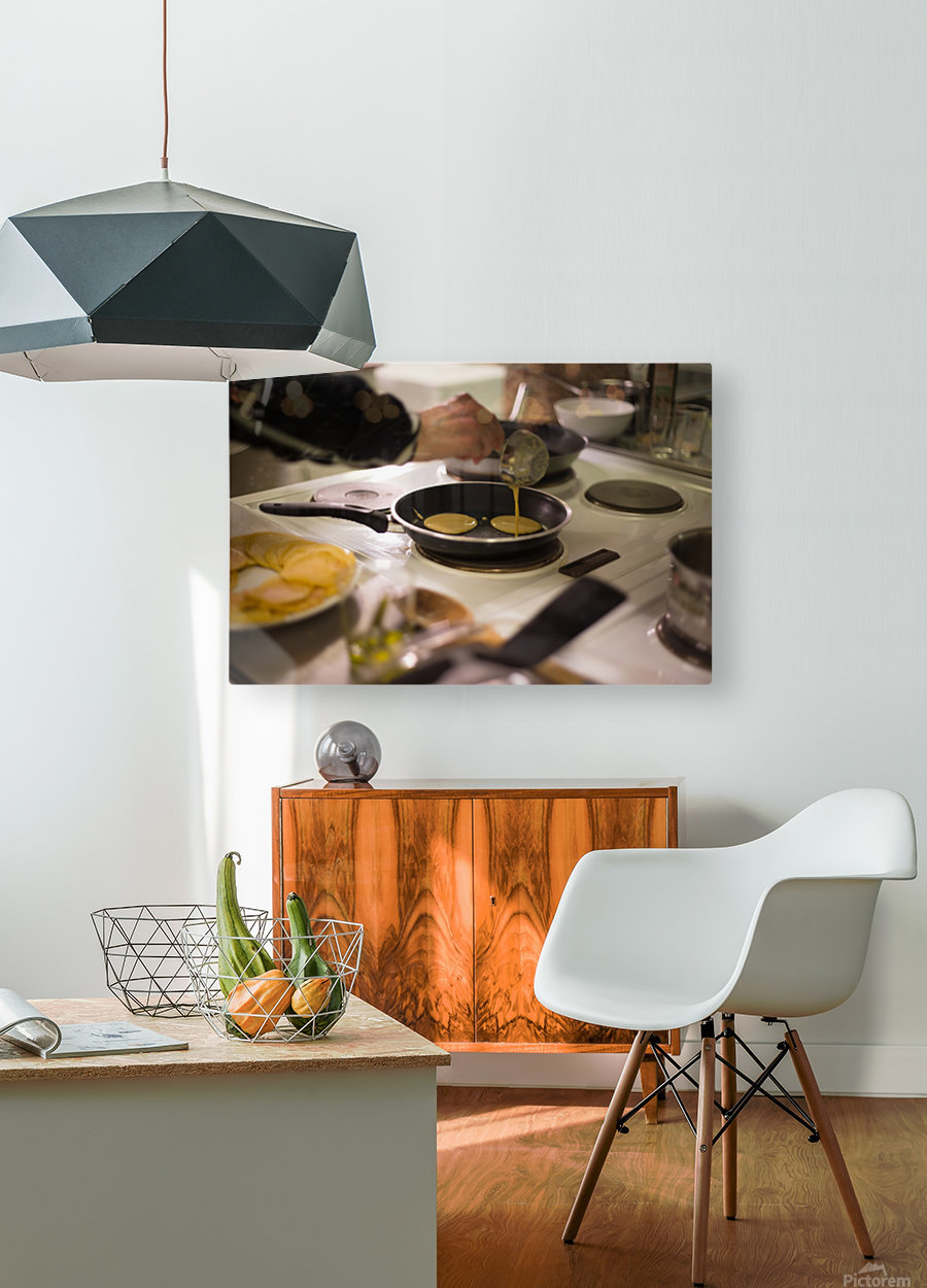 Cooking pancakes in kitchen  HD Metal print with Floating Frame on Back