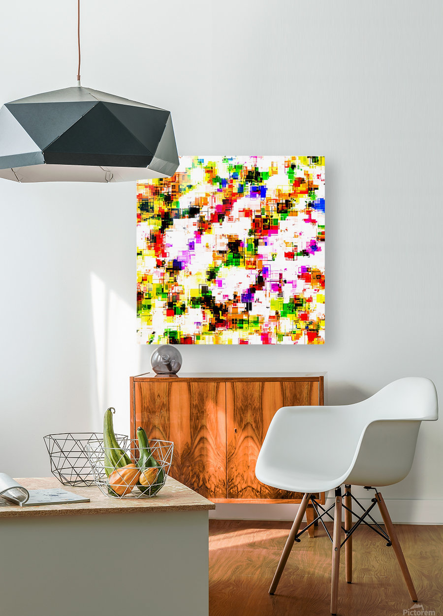 psychedelic geometric square pixel pattern abstract background in green red pink yellow  HD Metal print with Floating Frame on Back