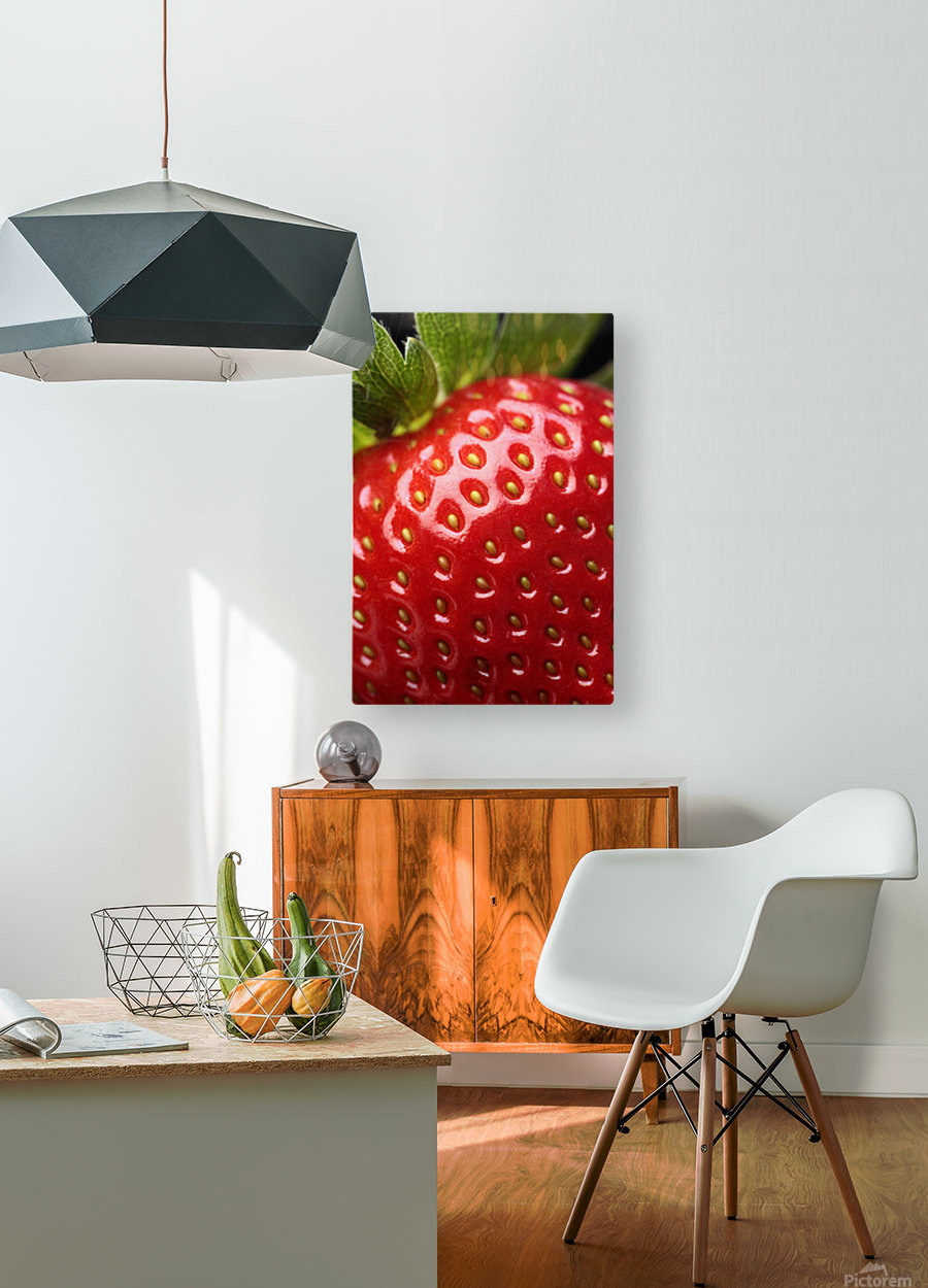 Fresh strawberry close-up  HD Metal print with Floating Frame on Back