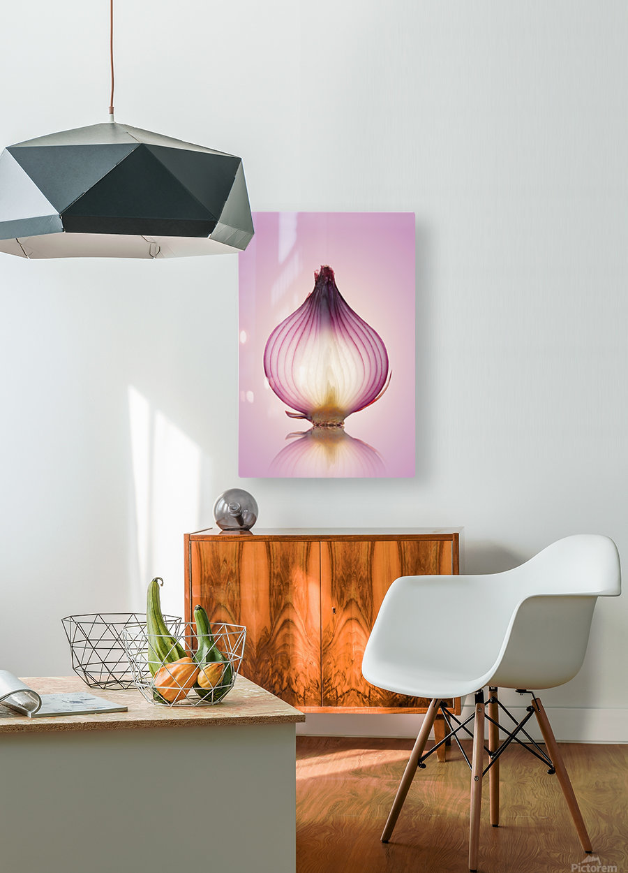 Red Onion Translucent layers  HD Metal print with Floating Frame on Back
