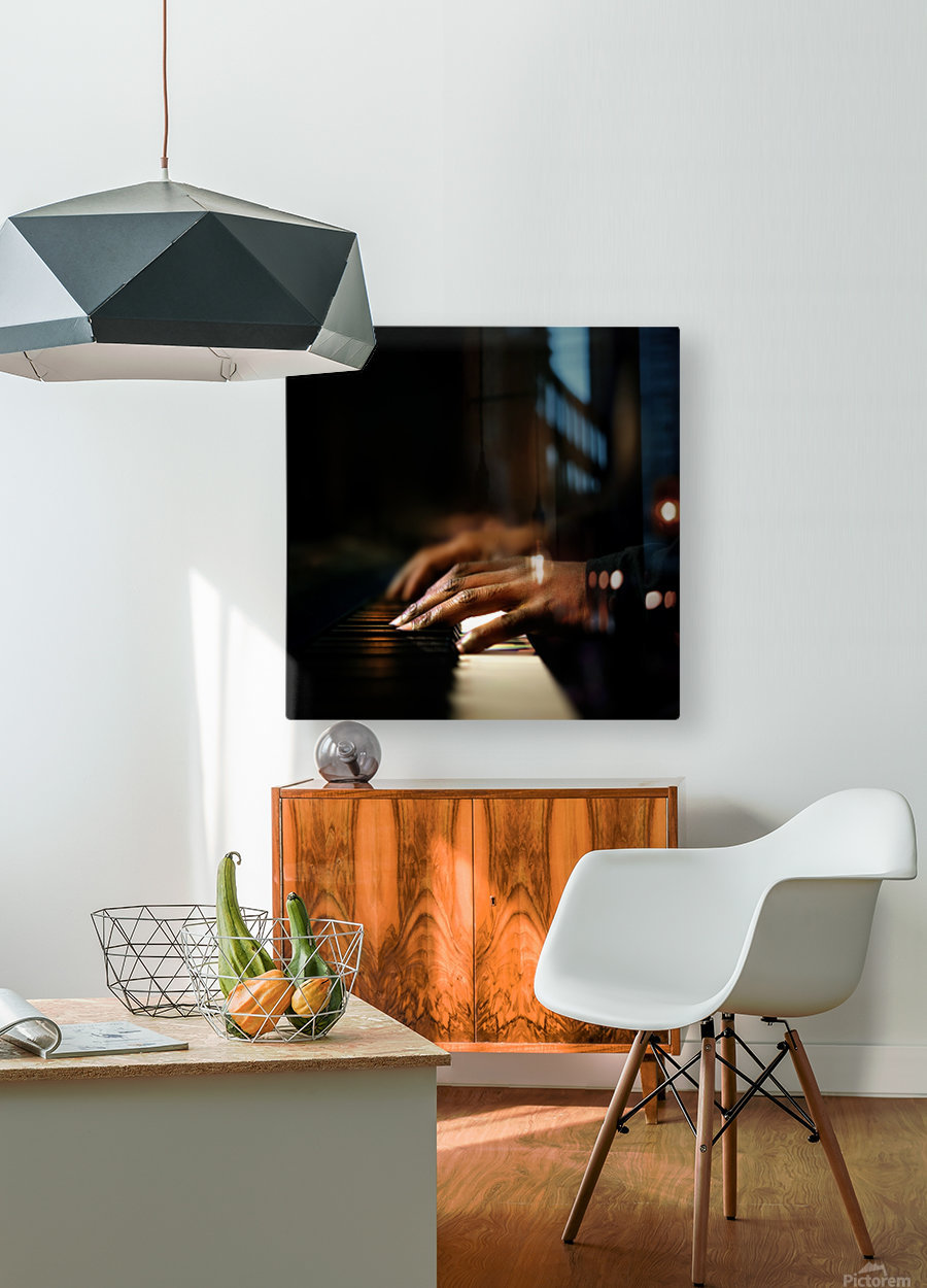 Hands playing piano close-up  HD Metal print with Floating Frame on Back
