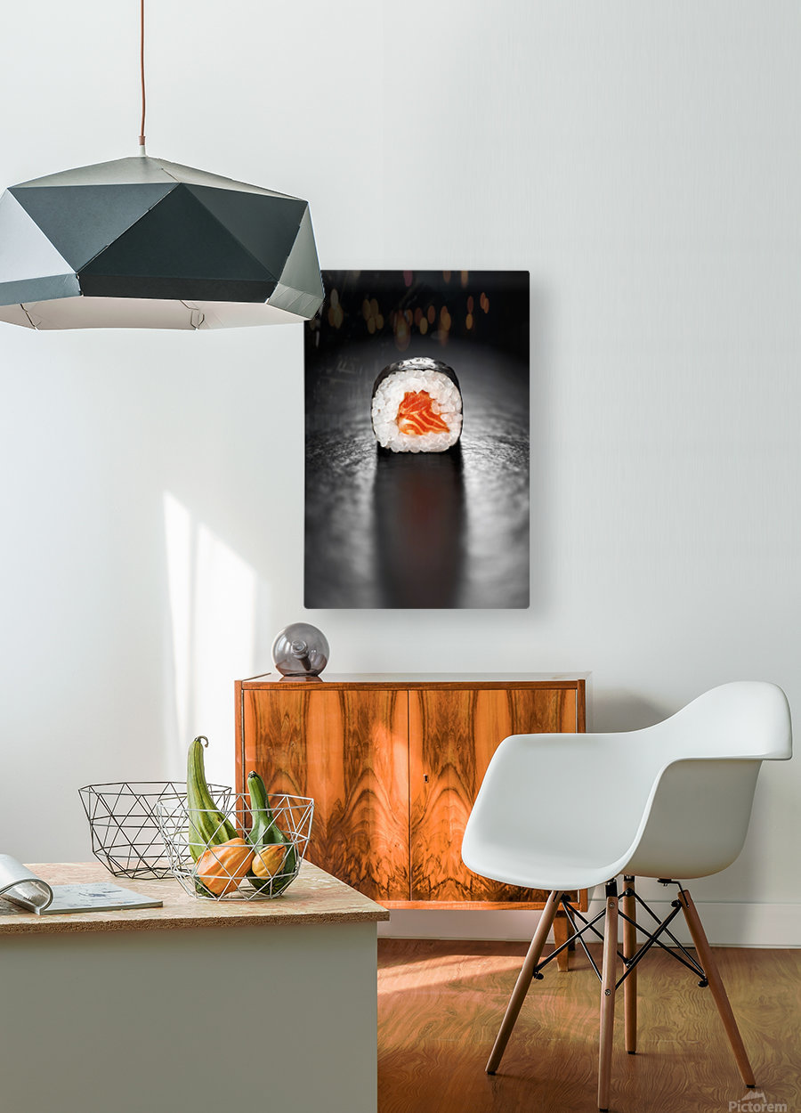 Maki Sushi Roll with Salmon  HD Metal print with Floating Frame on Back