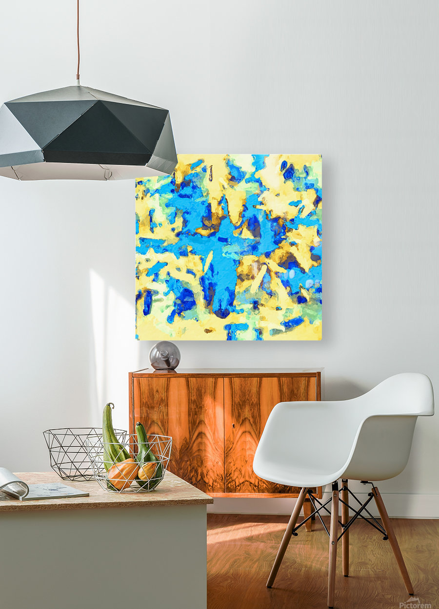 splash painting texture abstract background in blue and yellow  HD Metal print with Floating Frame on Back