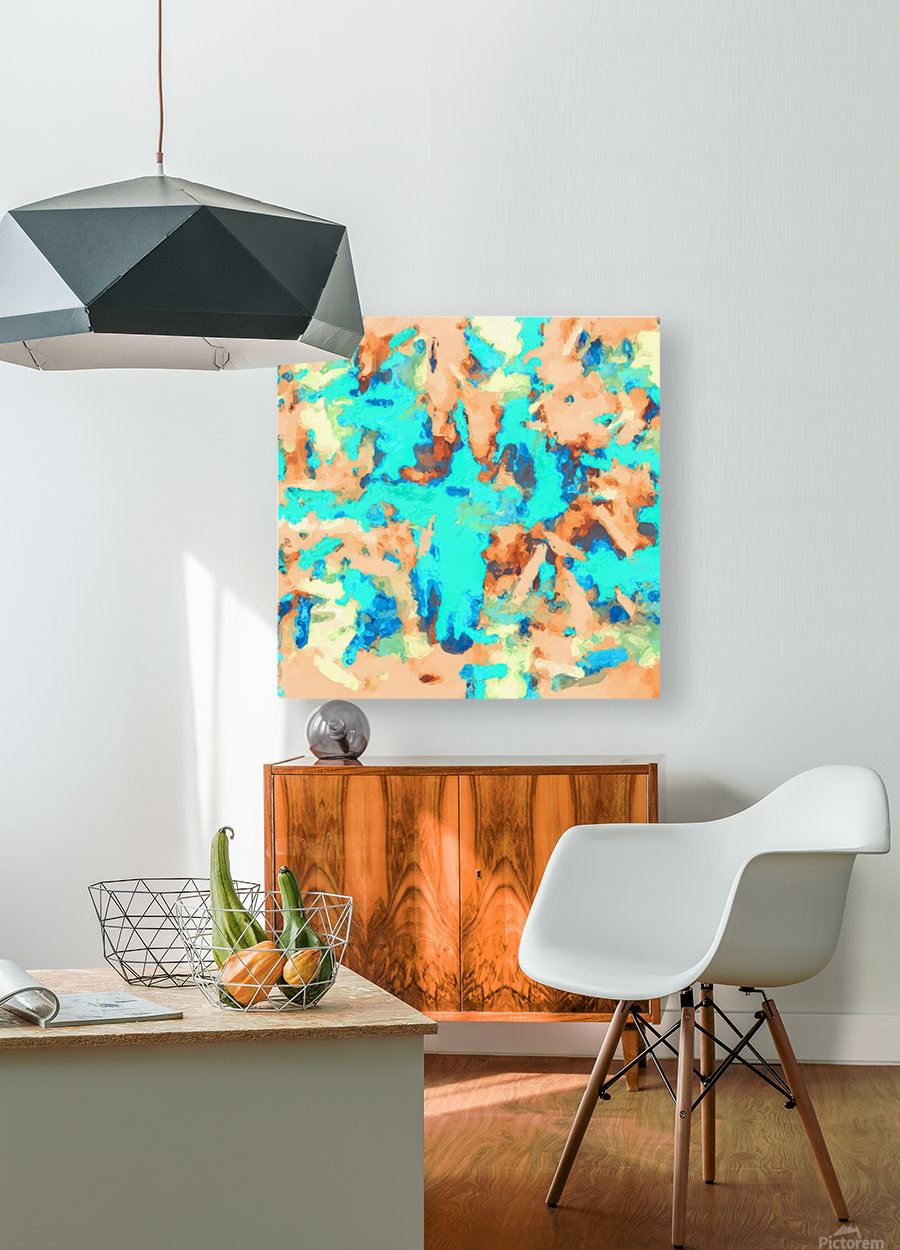 splash painting texture abstract background in blue and orange  HD Metal print with Floating Frame on Back