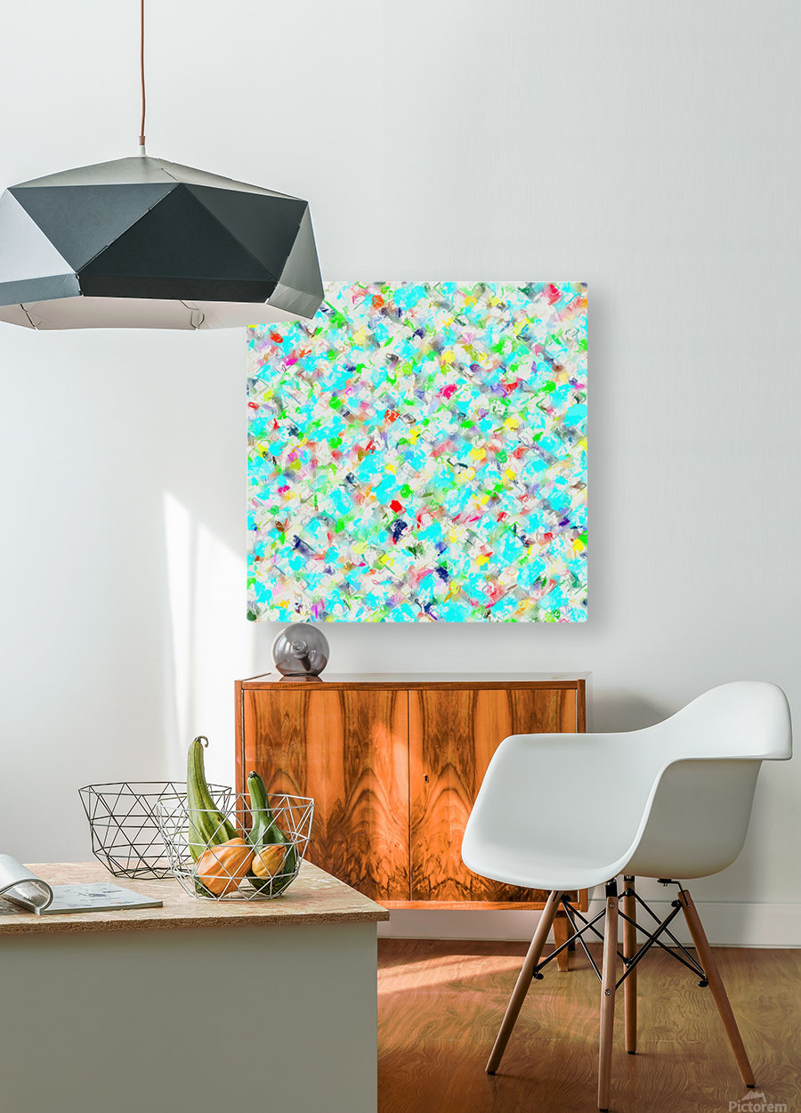 splash painting texture abstract background in blue yellow green red pink  HD Metal print with Floating Frame on Back