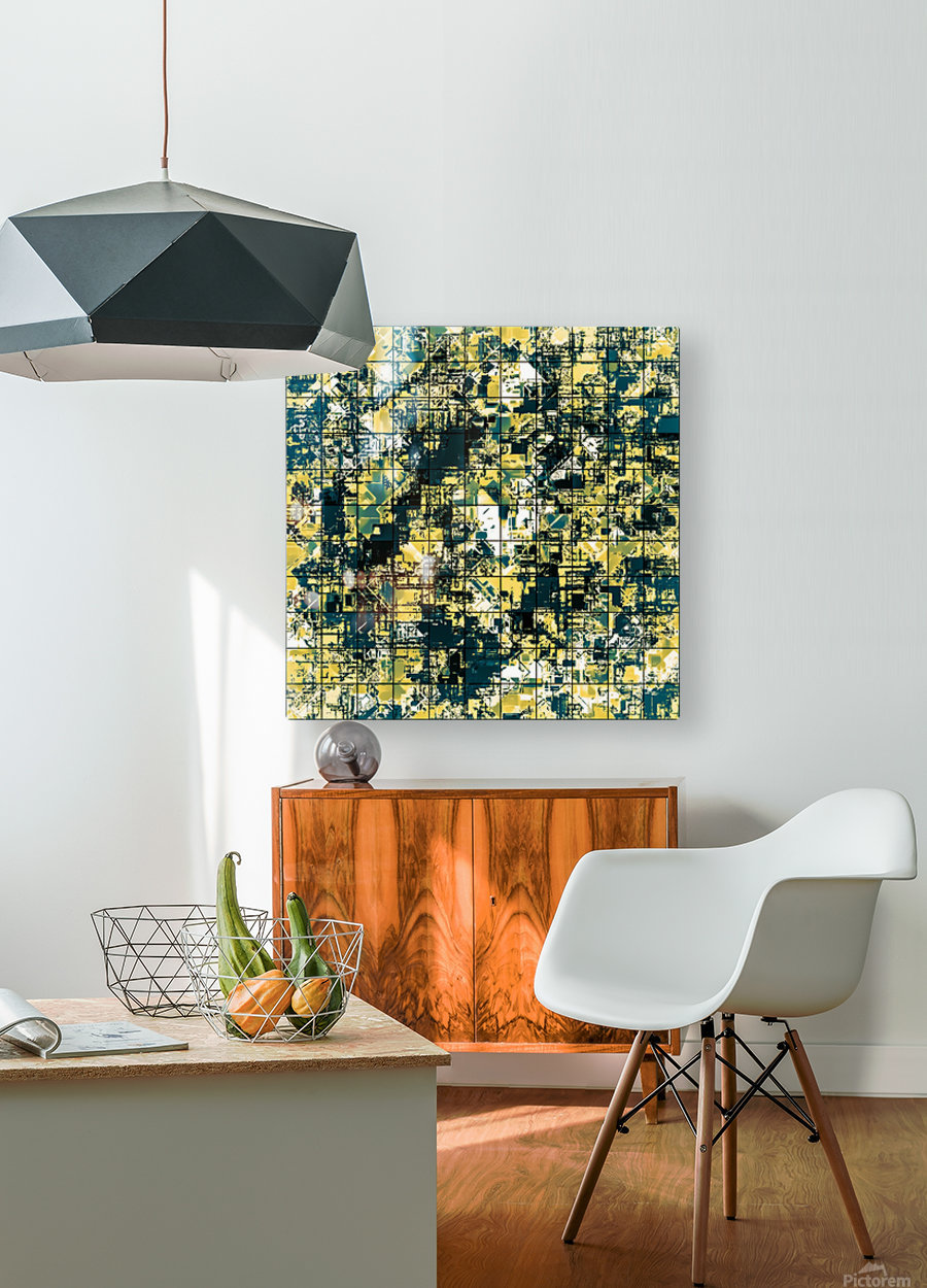 psychedelic geometric square pattern abstract background in green and yellow  HD Metal print with Floating Frame on Back